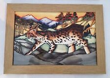 """MOORCROFT FIRST QUALITY LYNX REVEALED PLAQUE 14.5"""" X 10.5"""" BY KERRY GOODWIN"""