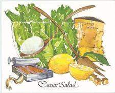 VINTAGE LETTUCE GARLIC CHEESE CAESAR SALAD PRINT RECIPE CARD &1 ROLLING PIN CARD