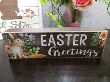 SPRING GREETINGS  Bunny and Crow primitive wood sign Easter