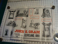 vintage Original Poster:  JOHN S. ORAM cleveland Ohio with machines as shown,