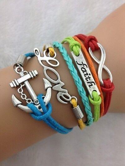 NEW Infinity Faith Love Anchor Leather Charm Bracelet plated Silver DIY !!!!!