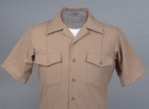 Us navy men 39 s khaki uniformi shirt dress casual short for Mens khaki shirt outfit