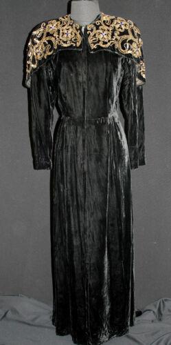 VINTAGE 1940'S LONG BLACK EVENING GOWN DRESS SEQUI