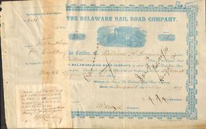 1879-The-Delaware-Rail-Road-Company-gt-railroad-stock-certificate-share