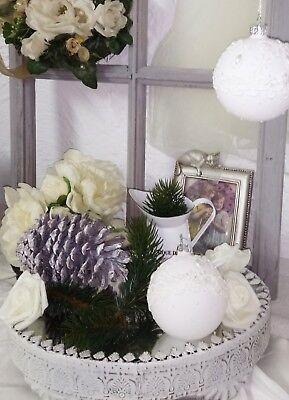 Christbaumkugel Weiß Perlen Glas Weihnachten Shabby Vintage Nostalgie Christmas