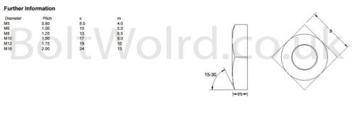 M12//12mm Acciaio Inox A2 SQUARE DADI PER BULLONI Metrico Viti Bullone DIN 557