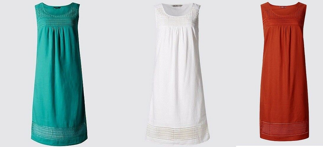 M&S Collection Soft White OR Orange Linen Blend Shift Dress Sz UK 8 10