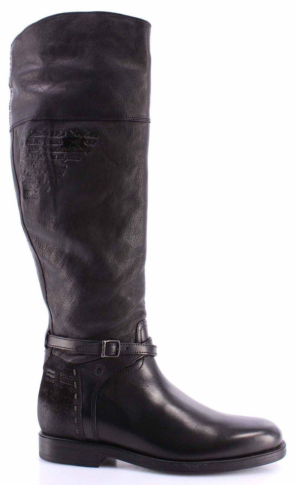 Women's Boots Shoes LA MARTINA L9110239 Cuero Nero Custer Nero Leather Black New