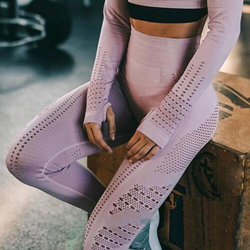 Women High Waist Seamless Yoga Pants Anti Cellulite Compression Jogging Legging