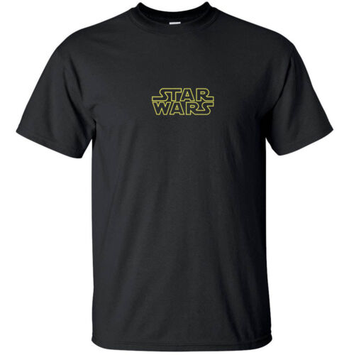 Star Wars Logo Black and Gold Funny Awesome T-Shirt Adult Black White Custom