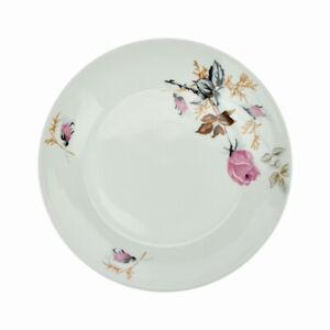 Lot-de-6-Assiettes-Plate-En-Porcelaine-Ronde-Blanc-Fleur-de-Rose-Seche-24-cm