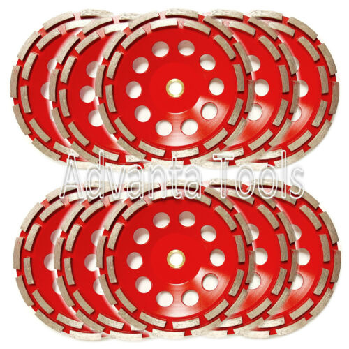 "10PK 7"" Double Row Diamond Grinding Cup Wheel for Concrete - 7/8-5/8 Arbor"