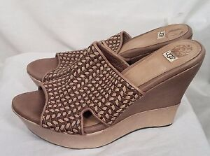 806534eb393 Details about Authentic UGG Australia Doha Wedge Sandal Clog Brown Womens  Sz 8.5