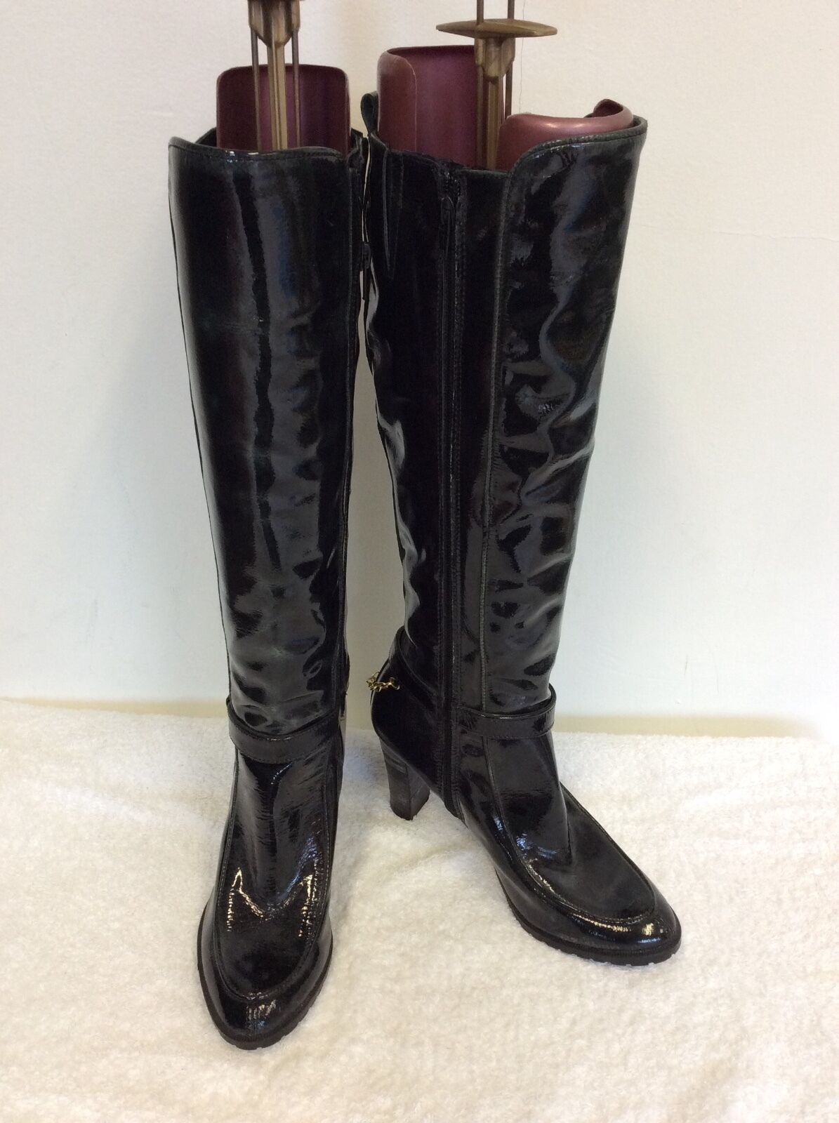 BRAND NEW BRONX VERY DARK GREEN PATENT LEATHER BOOTS SIZE 3.5  36