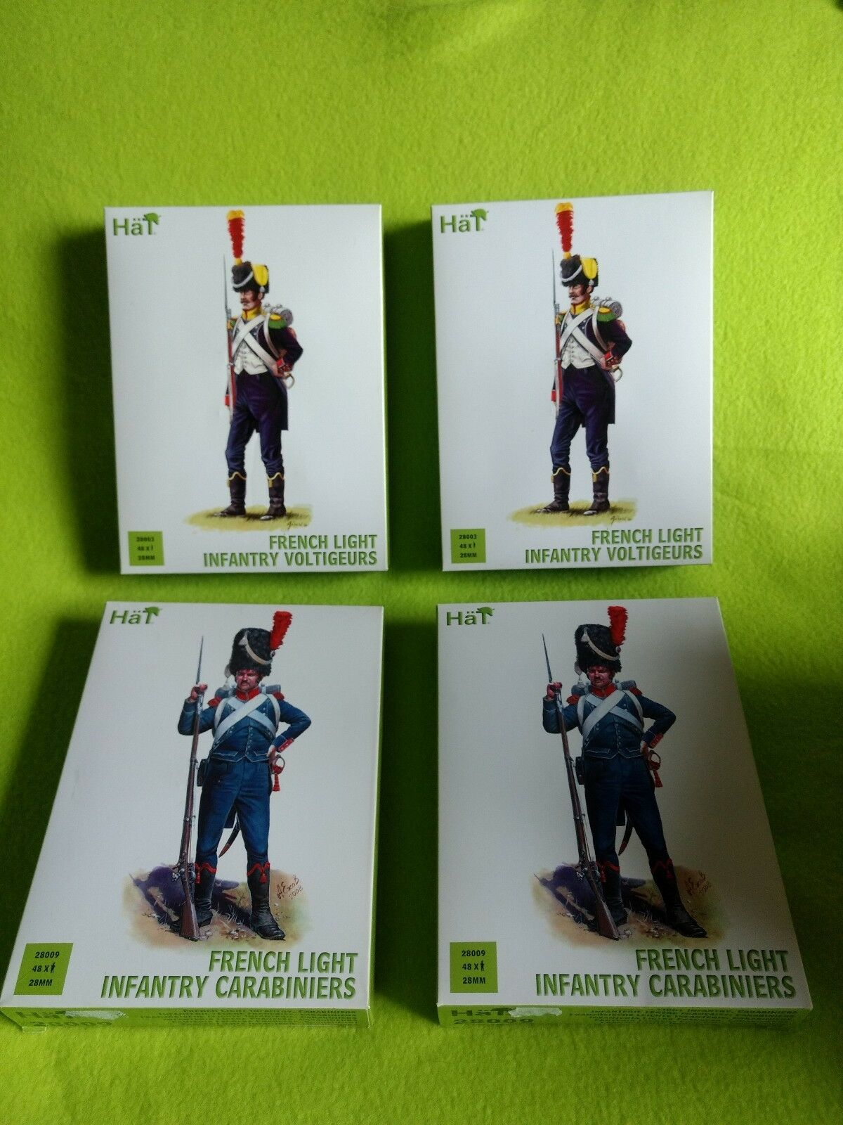 2x HaT 28009 + 2x 28003 French Infantry Napoleonic Carabiniers figure 1 72 scale
