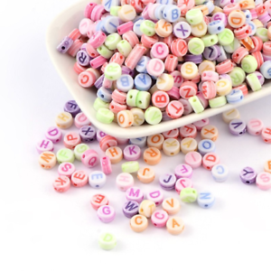 100 BULK Beads Alphabet Letter Beads Assorted Lot Wholesale Beads Pastel Acrylic