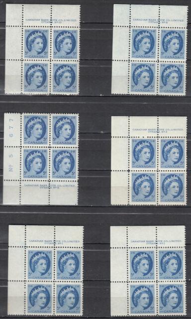 Canada MINT NH Selection of Scott#341 Plate Blocks study