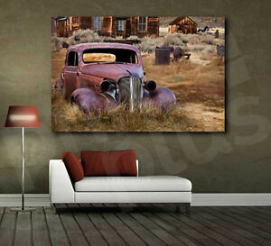 Image Is Loading Abandoned Rusted Old Car Hot Rod Canvas Art
