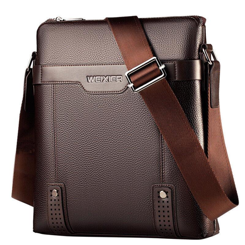 Business Shoulder Bag PU Leather Briefcase Satchel Bag for Men Crossbody Purse Bags