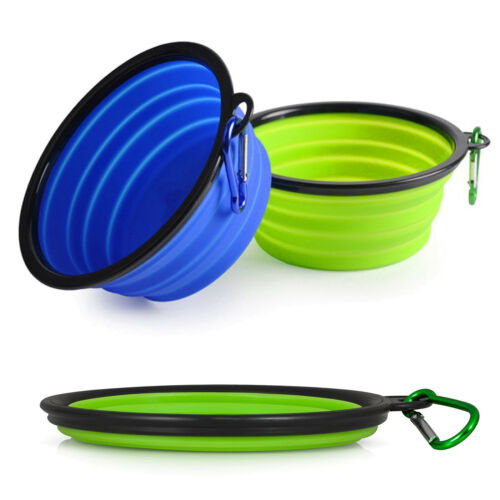 2x Portable Pet Dog Food Drink Collapsible Bowl Travel Camping Lightweight Plate