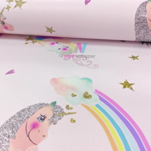 Arthouse ARCO IRIS UNICORNIO Childrens Wallpaper Brillo Pony Corazón Motif 696108