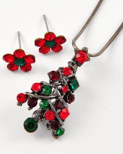 Christmas tree necklace earring set RHINESTONE red green Xmas silver tone