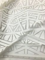 Dress White Faux Leather Geometric Stitch Lace Fabric Sold By The Yard Gowns