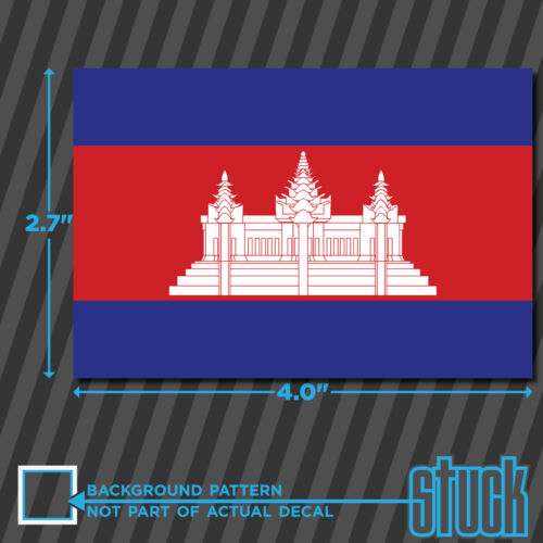 """Cambodia Flag vinyl decal sticker self adhesive country Cambodian KHM 4/""""x 2.7/"""""""