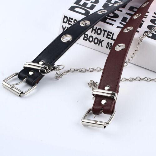 Women Punk Chain Belt Adjustable Black Double//Single Eyelet Leather Buckle Belt#
