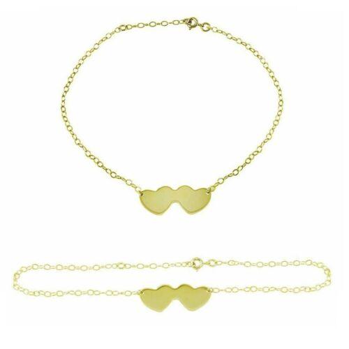 Sterling Silver Double Heart Chain Anklet Bracelet