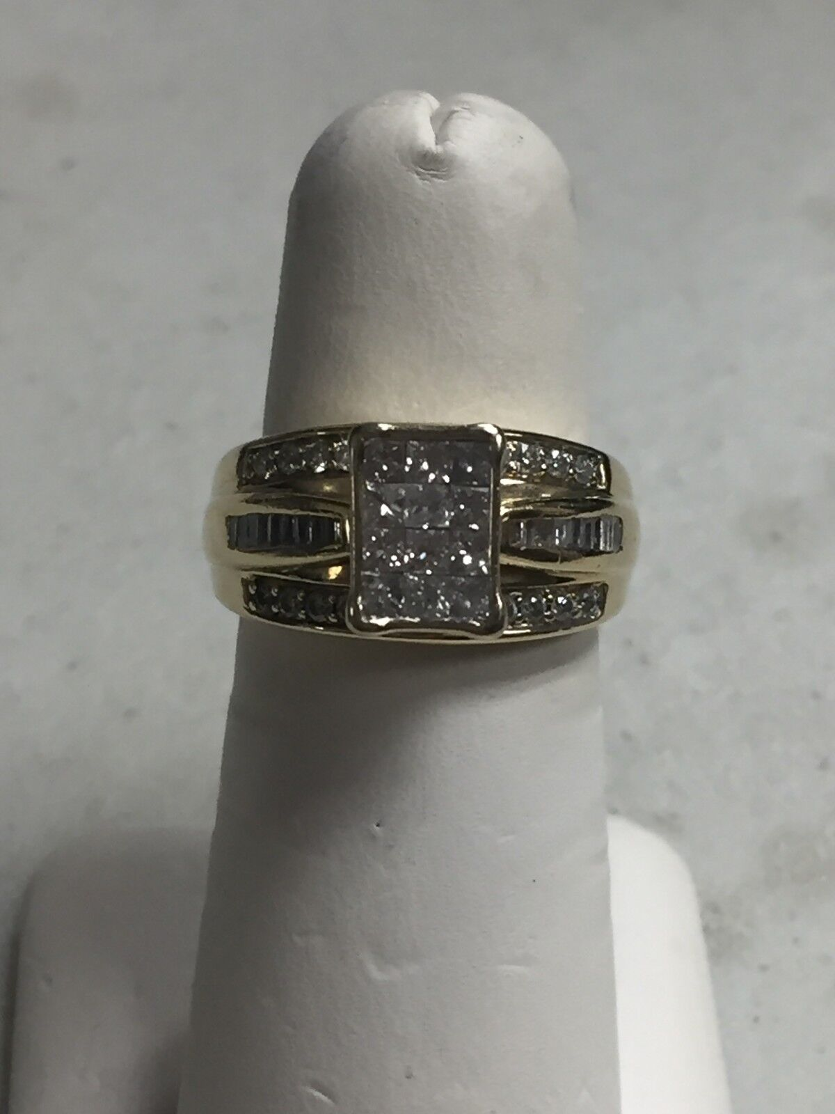 ZEI 14k YELLOW gold 1.14 TCW PRINCESS CUT DIAMOND ILLUSION RING