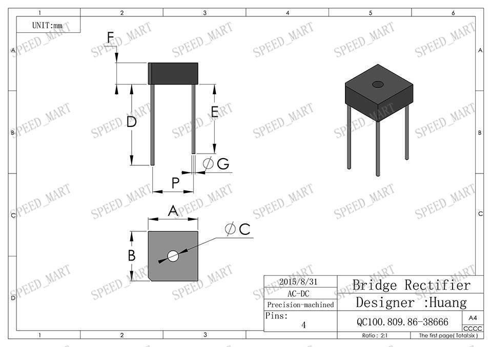 10 pcs kbpc610 bridge rectifier gleichrichter 1000v ac change dc 6a kbpc