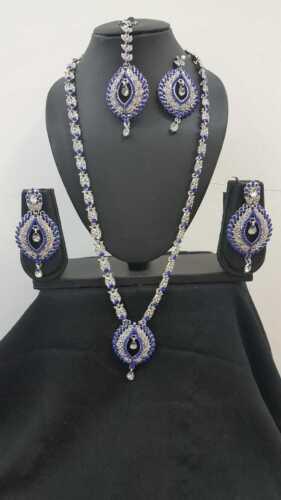 Azul y Plata Collar CONJUNTO PENDIENTES Tikka indio Bollywood Joyería De Boda