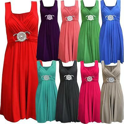 New Ladies Plus Size Tie Back Belted Short Knee Length Maxi Dress 8-26