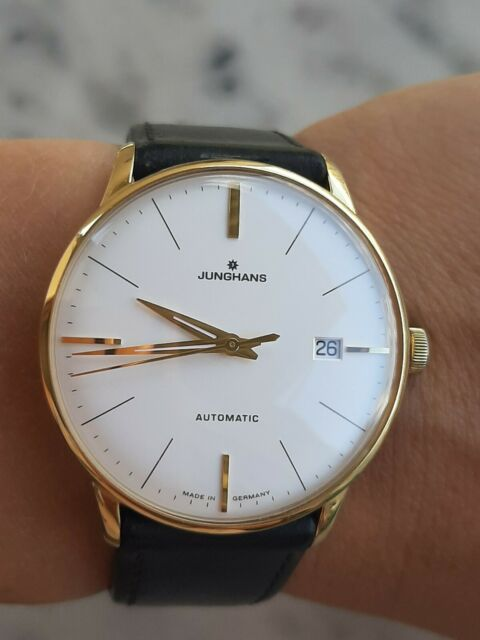 Junghans Meister Classic Watch 027/7312.00 Automatic Gold Plated Mens 38.5mm
