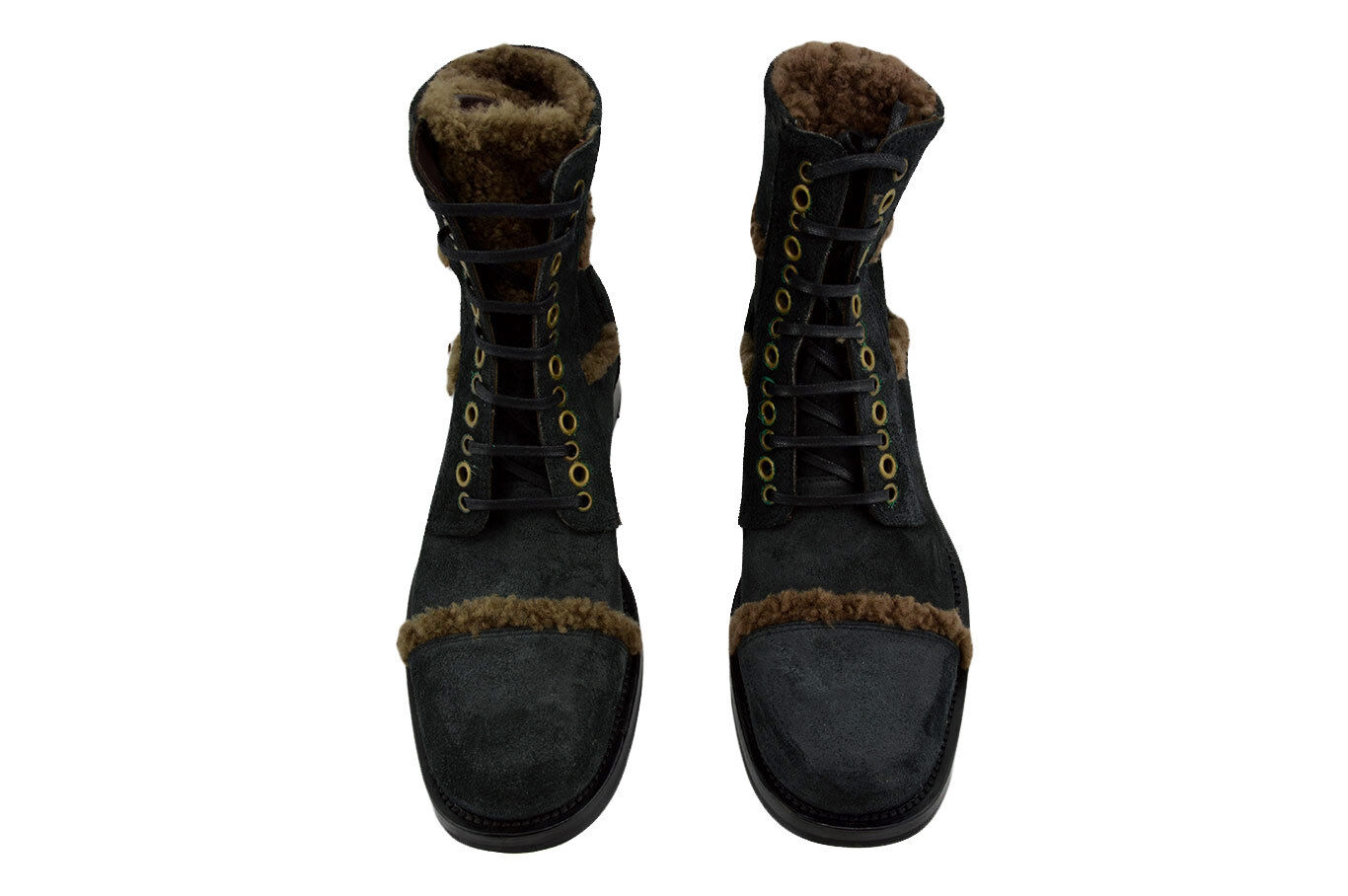 858f2201 $750 DOLCE & GABBANA Black Leather ANKLE BOOTS Fur Men Shoes LIMITED  EDITION. `