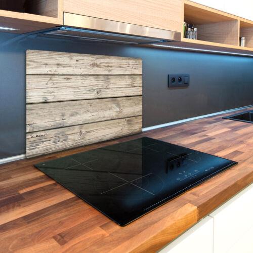 Glas-Herdabdeckplatte Ceranfeldabdeckung Spritzschutz 80x52 Holz