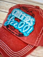 Women's Red Distressed , Vintage ,thick Stitch Cap / Hat - Cheers Y'all -