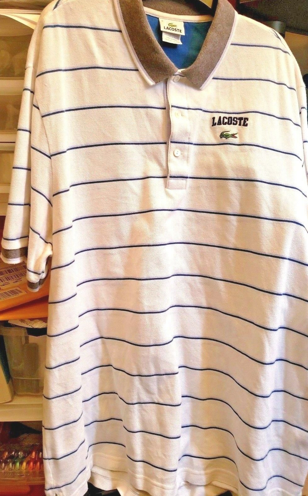 Lacoste Polo 9  Mens White bluee Striped Short Sleeve Shirt size 9
