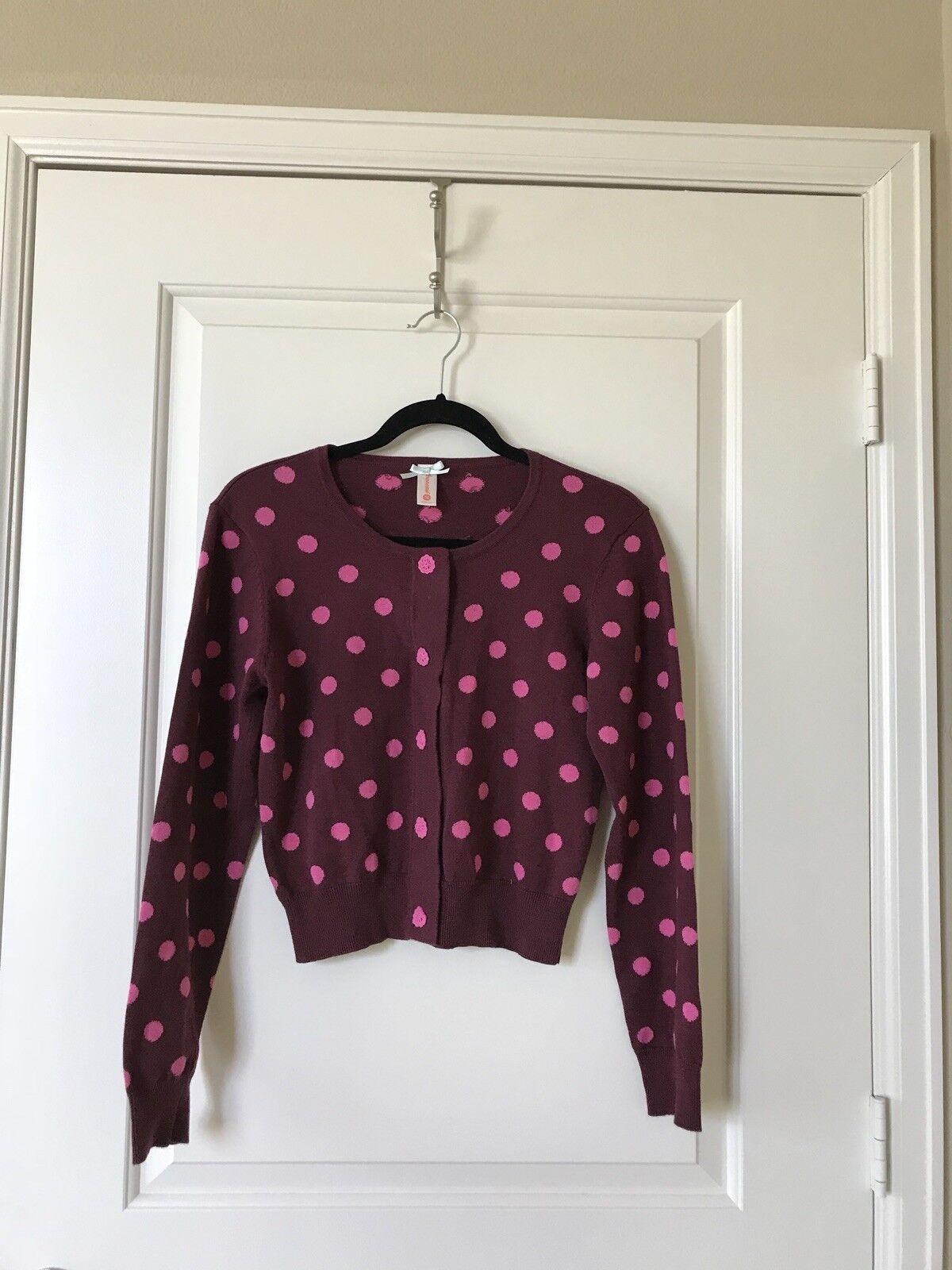 Modcloth Maroon Pink Polka Dot Crop Cardigan, Size M