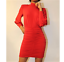 John-Zack-Ruched-High-Neck-Mini-Dress-With-full-sleeves-Red-Black thumbnail 13