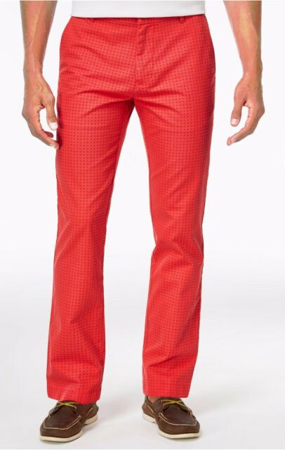 NEW MENS TOMMY HILFIGER CUSTOM FIT DOT PATTERN BLEACHED RED COTTON PANTS 34 x 30