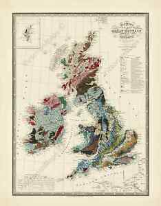 UK-Great-Britain-Ireland-antique-Victorian-geological-map-J-Wyld-1844-art-poster