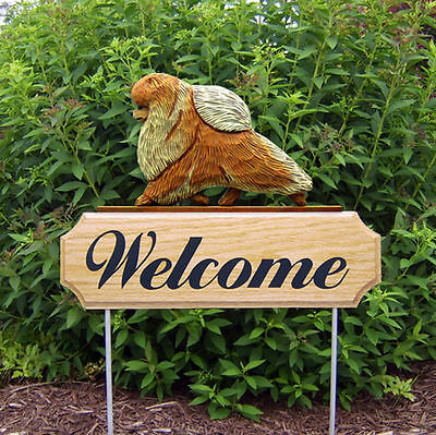 Pomeranian Dog Breed Oak Wood Welcome Outdoor Yard Sign Orange