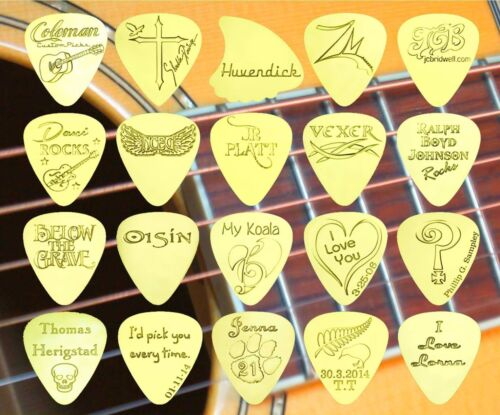Bass Solid Brass Guitar Pick Electric Acoustic THUNDERBIRD