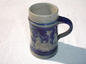 Cobalt Blue Salt Glaze German Beer Stein Mug 1 2 Liter Ebay