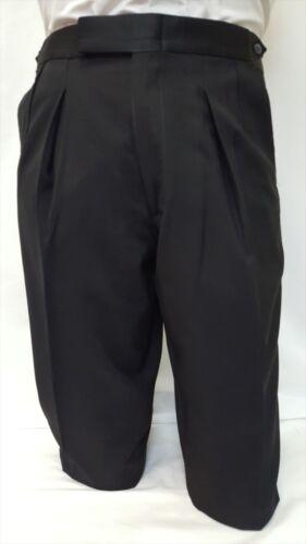 All Size Mens Black Wool Tuxedo Pants Tux Trousers Adjustable Satin Waist Band