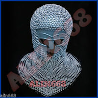 Aluminium Chain Mail Hood - V-Neck ( chainmail coif ) re-enactment / larp / sca