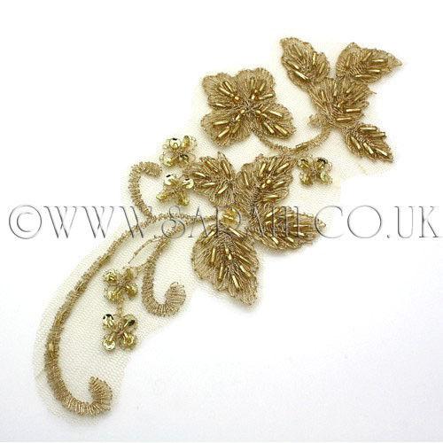 GOLD NET APPIQUE FLORAL beads,sew trimming,edging,trim,sequin,bead,EMBELLISHMENT