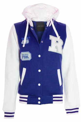 Womens Jacket Hooded Badge Stylish Plus Contrast Baseball Varsity Sizes UK 16-28